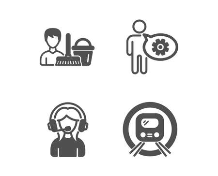 Set of Support, Cogwheel and Cleaning service icons. Metro subway sign. Call center, Engineering tool, Bucket with mop. Underground.  Classic design support icon. Flat design. Vector