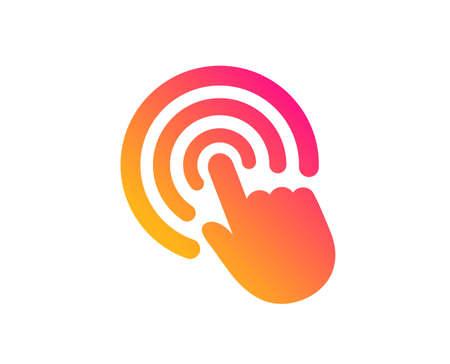 Ręka Kliknij ikonę. Znak dotyku palcem. Symbol wskaźnika kursora. Klasyczny styl płaski. Kliknij ikonę gradientu. Wektor