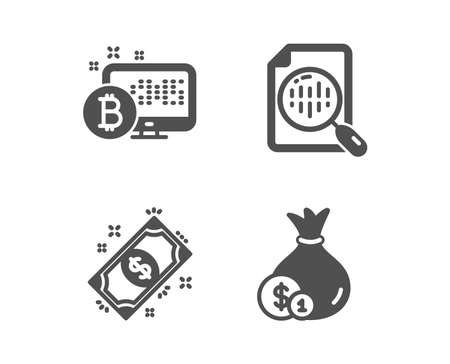 Set of Analytics chart, Payment and Bitcoin system icons. Cash sign. Report analysis, Finance, Cryptocurrency monitor. Banking currency.  Classic design analytics chart icon. Flat design. Vector