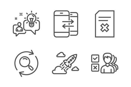 Idea, Delete file and Search icons simple set. Phone communication, Startup rocket and Opinion signs. Solution, Remove document. Line idea icon. Editable stroke. Vector Illustration