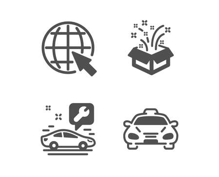 Set of Car service, Internet and Gift icons. Taxi sign. Repair service, World web, New year. Public transportation.  Classic design car service icon. Flat design. Vector Stock Illustratie