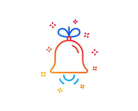 Christmas bell line icon. New year tree decoration sign. Gradient design elements. Linear bell icon. Random shapes. Vector 일러스트