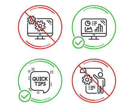 Do or Stop. Analytics graph, Quick tips and Settings icons simple set. Settings blueprint sign. Growth report, Helpful tricks, Cogwheel tool. Engineering cogwheel. Science set. Vector