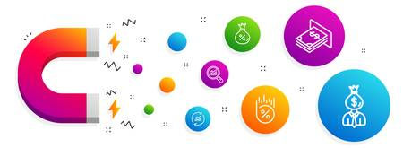Magnet attracting. Update data, Loan and Loan percent icons simple set. Data analysis, Atm money and Manager signs. Sales statistics, Money bag. Finance set. Line update data icon. Vector