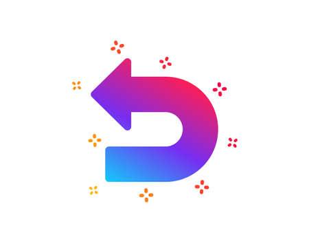Undo arrow icon. Left turn direction symbol. Navigation pointer sign. Dynamic shapes. Gradient design undo icon. Classic style. Vector