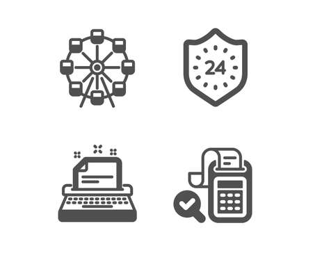Set of Ferris wheel, 24 hours and Typewriter icons. Bill accounting sign. Attraction park, Protection, Instruction. Audit report.  Classic design ferris wheel icon. Flat design. Vector Ilustrace