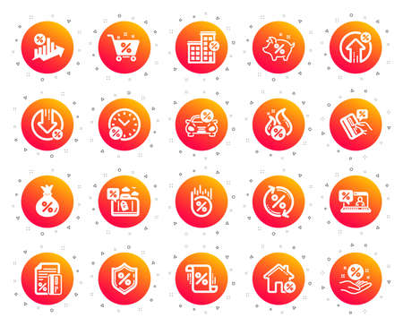 Loan icons. Set of Investment, Interest rate and Percentage diagram icons. Car leasing, analytics plan, Credit card percent and loan rate. Bank mortgage, leasing, interest graph. Gradient buttons set