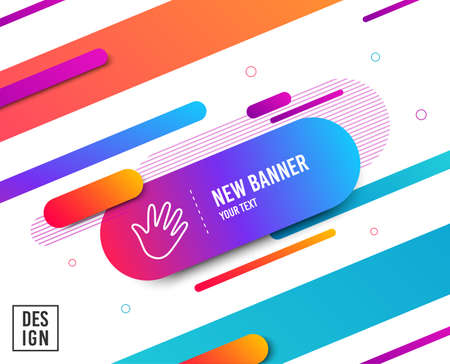 Hand wave line icon. Palm sign. Diagonal abstract banner. Linear hand icon. Geometric line shapes. Vector