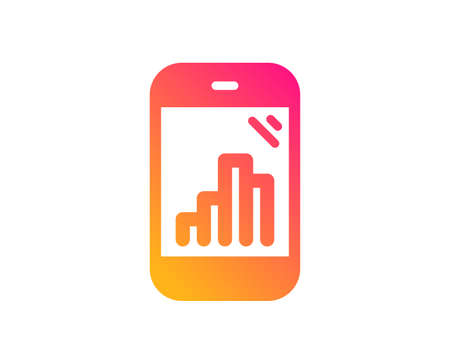Graph phone icon. Column chart sign. Growth diagram symbol. Classic flat style. Gradient graph phone icon. Vector