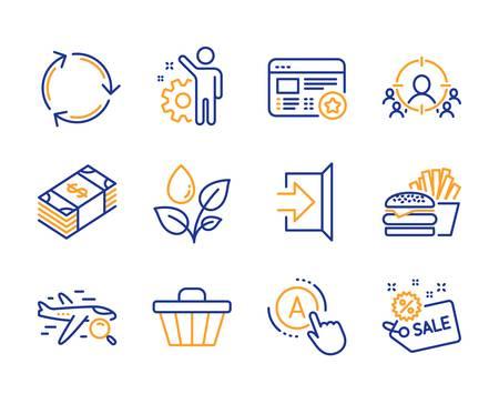 Ensemble simple d'icônes de recyclage, de devise Usd et de sortie. Favoris, ciblage d'entreprise et recherche de signes de vol. Employé, chariot de magasin et symboles d'arrosage des plantes. Burger, test Ab et vente. Vecteur Vecteurs
