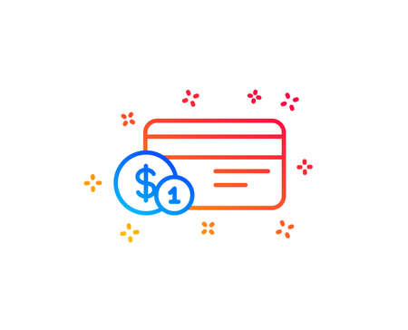 Credit card line icon. Banking Payment card with Coins sign. ATM service symbol. Gradient design elements. Linear payment method icon. Random shapes. Vector