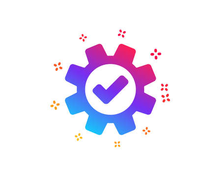 Cogwheel icon. Approved Service sign. Transmission Rotation Mechanism symbol. Dynamic shapes. Gradient design service icon. Classic style. Vector