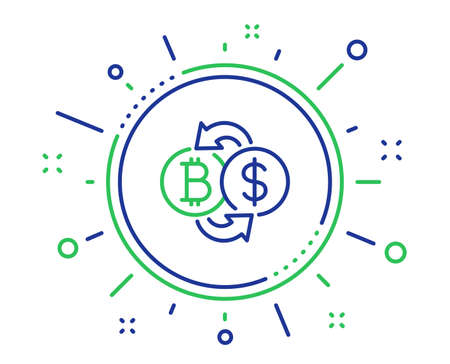 Bitcoin exchange line icon. Cryptocurrency coin sign. Dollar money symbol. Quality design elements. Technology bitcoin exchange button. Editable stroke. Vector
