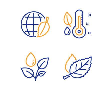 Thermometer, Plants watering and Environment day icons simple set. Leaf sign. Grow plant, Water drop, Safe world. Nature leaves. Nature set. Linear thermometer icon. Colorful design set. Vector Ilustrace