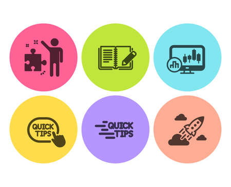 Quick tips, Feedback and Strategy icons simple set. Education, Candlestick chart and Startup rocket signs. Helpful tricks, Book with pencil. Education set. Flat quick tips icon. Circle button. Vector