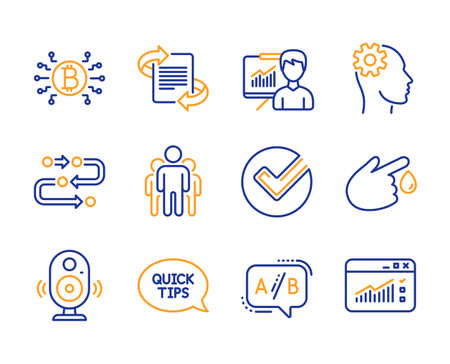 Blood donation, Presentation and Methodology icons simple set. Engineering, Ab testing and Group signs. Verify, Bitcoin system and Quickstart guide symbols. Line blood donation icon. Colorful set