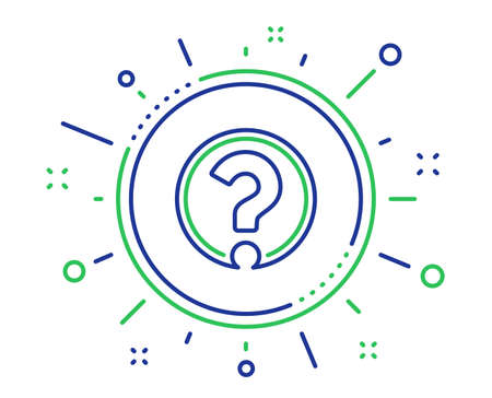 Vraagteken lijn pictogram. Ondersteuning help teken. Veelgestelde vragen symbool. Kwaliteit ontwerpelementen. Technologie vraagteken knop. Bewerkbare streek. Vector Vector Illustratie