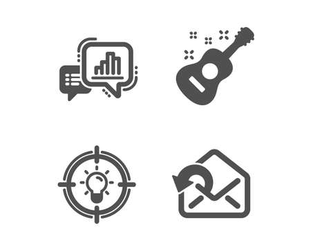 Set of Idea, Guitar and Graph chart icons. Send mail sign. Solution, Acoustic instrument, Growth report. Sent message.  Classic design idea icon. Flat design. Vector Çizim