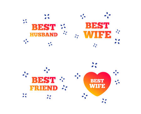 Best wife, husband and friend icons. Heart love signs. Award symbol. Random dynamic shapes. Gradient friend icon. Vector Illustration