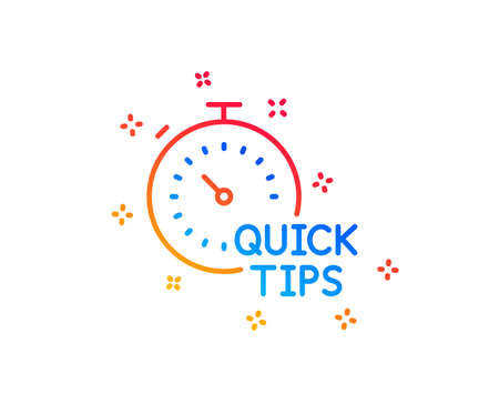 Quick tips line icon. Helpful tricks sign. Tutorials with timer symbol. Gradient design elements. Linear quick tips icon. Random shapes. Vector Illustration