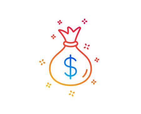 Money bag line icon. Cash Banking currency sign. Dollar or USD symbol. Gradient design elements. Linear money bag icon. Random shapes. Vector