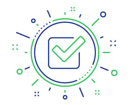Check line icon. Approved Tick sign. Confirm, Done or Accept symbol. Quality design elements. Technology checkbox button. Editable stroke. Vector Stok Fotoğraf - 122776643