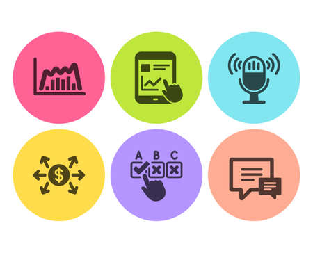 Microphone, Infographic graph and Correct checkbox icons simple set. Dollar exchange, Internet report and Comment signs. Mic, Line diagram. Education set. Flat microphone icon. Circle button. Vector