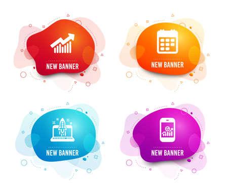 Liquid badges. Set of Demand curve, Start business and Calendar icons. Smartphone statistics sign. Statistical report, Launch idea, Event reminder. Mobile business.  Gradient demand curve icon
