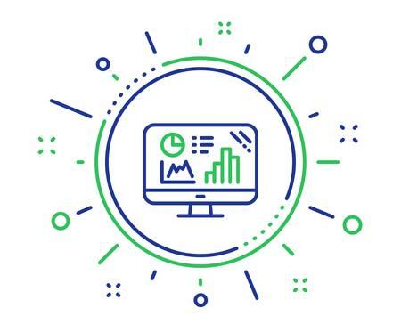 Analytics graph line icon. Column chart sign. Growth diagram symbol. Quality design elements. Technology analytics graph button. Editable stroke. Vector Illustration