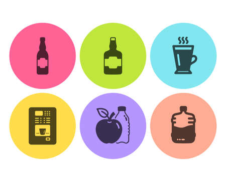 Whiskey bottle, Apple and Coffee vending icons simple set. Latte, Beer bottle signs. Scotch alcohol, Diet food. Food and drink set. Flat whiskey bottle icon. Circle button. Vector