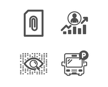 Set of Attachment, Career ladder and Artificial intelligence icons. Bus parking sign. Attach document, Manager results, Find data. Public park.  Classic design attachment icon. Flat design. Vector