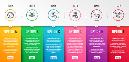 Select user, Typewriter and Tutorials icons simple set. Audit, Manual doc and Dirty water signs. Head with checkbox, Writer machine. Science set. Infographic template. 6 steps timeline. Vector Illustration