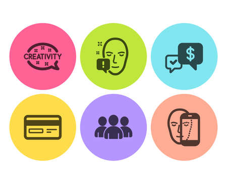 Face attention, Payment received and Group icons simple set. Creativity, Credit card and Face biometrics signs. Exclamation mark, Money. Business set. Flat face attention icon. Circle button. Vector Foto de archivo - 121801446