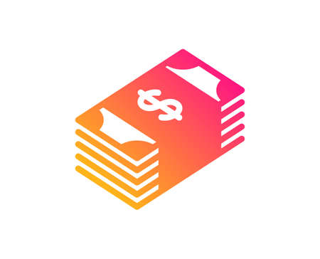 Cash money icon. Banking currency sign. Dollar or USD symbol. Classic flat style. Gradient usd currency icon. Vector