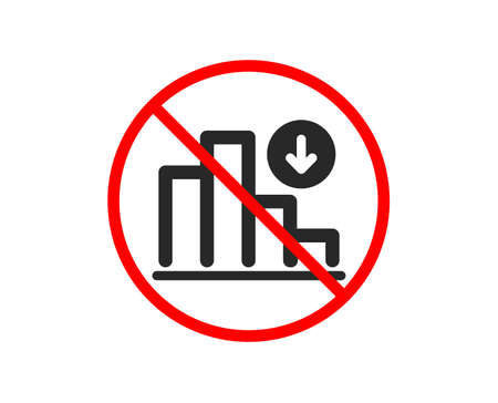 No or Stop. Decreasing graph icon. Column chart sign. Crisis diagram symbol. Prohibited ban stop symbol. No decreasing graph icon. Vector 일러스트