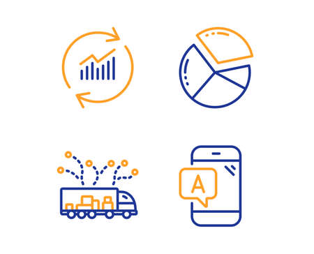 Pie chart, Truck delivery and Update data icons simple set. Ab testing sign. Presentation graph, Logistics, Sales statistics. Phone test. Business set. Linear pie chart icon. Colorful design set