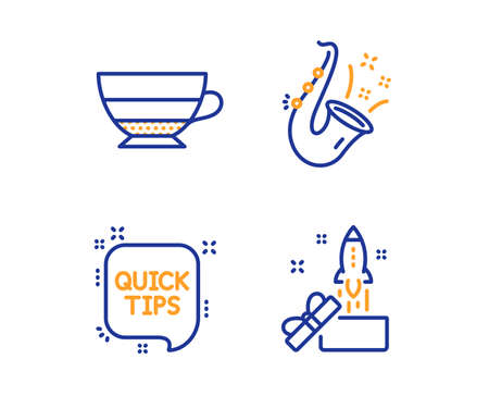 Jazz, Quick tips and Americano icons simple set. Innovation sign. Saxophone, Helpful tricks, Beverage cup. Crowdfunding. Linear jazz icon. Colorful design set. Vector