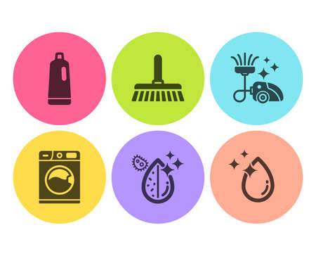 Shampoo, Dirty water and Vacuum cleaner icons simple set. Cleaning mop, Washing machine and Water drop signs. Bath cleanser, Aqua drop. Cleaning set. Flat shampoo icon. Circle button. Vector