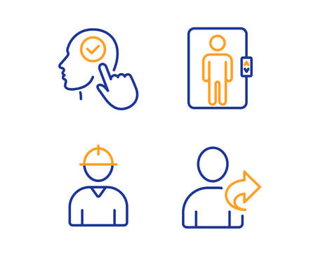 Select user, Engineer and Elevator icons simple set. Refer friend sign. Head with checkbox, Worker profile, Office transportation. Share. People set. Linear select user icon. Colorful design set
