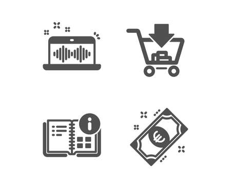 Set of Shopping, Music making and Instruction info icons. Euro money sign. Add to cart, Dj app, Project. Cash.  Classic design shopping icon. Flat design. Vector Illustration