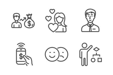 Salary, Like and Love icons simple set. Phone payment, Businessman person and Algorithm signs. Person earnings, Social media dislike. People set. Line sallary icon. Editable stroke. Vector Illustration