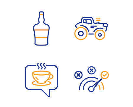 bottle, Coffee and Tractor icons simple set. Correct answer sign. Brandy alcohol, Cafe, Farm transport. Speed symbol. Business set. Linear bottle icon. Colorful design set. Vector