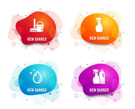 Liquid badges. Set of Water drop, Spray and Bucket with mop icons. Shampoo and spray sign. Crystal aqua, Washing cleanser, Cleaner equipment. Washing liquids.  Gradient water drop icon. Vector
