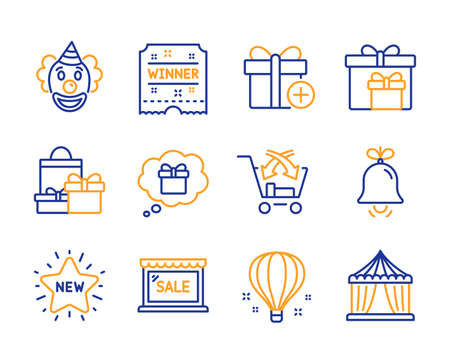 Air balloon, New star and Clown icons simple set. Gift dream, Shopping and Sale signs. Winner ticket, Bell and Add gift symbols. Delivery boxes, Cross sell and Circus tent. Line air balloon icon