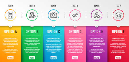 Ship, Reject mail and Paper plane icons simple set. Attachment, Prescription drugs and Love mail signs. Shipping watercraft, Delete letter. Business set. Infographic template. 6 steps timeline Иллюстрация