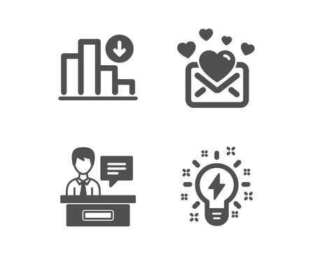 Set of Decreasing graph, Love mail and Exhibitors icons. Inspiration sign. Crisis chart, Valentines letter, Information desk. Creativity.  Classic design decreasing graph icon. Flat design. Vector Illustration