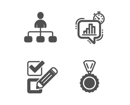 Set of Checkbox, Statistics timer and Management icons. Medal sign. Survey choice, Growth chart, Agent. Winner.  Classic design checkbox icon. Flat design. Vector