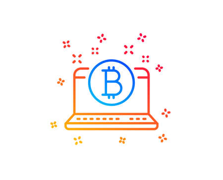 Bitcoin line icon. Cryptocurrency coin sign. Crypto laptop symbol. Gradient design elements. Linear bitcoin icon. Random shapes. Vector