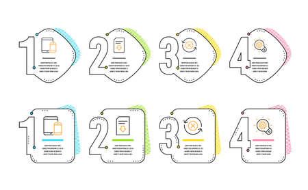 Dispositivos móviles, Descargar archivo y Rechazar actualización de iconos conjunto simple. Signo de rueda dentada. Smartphone con tableta, Cargar documento, Actualizar rechazo. Bombilla de idea. Conjunto de tecnología. Línea de tiempo de infografía. Vector