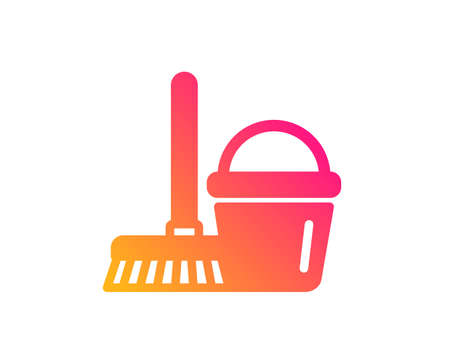 Cleaning bucket with mop icon. Washing Housekeeping equipment sign. Classic flat style. Gradient bucket with mop icon. Vector Ilustração